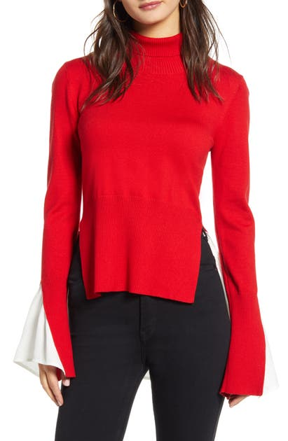 English Factory Sweater & Blouse Twofer Combo Top In Red