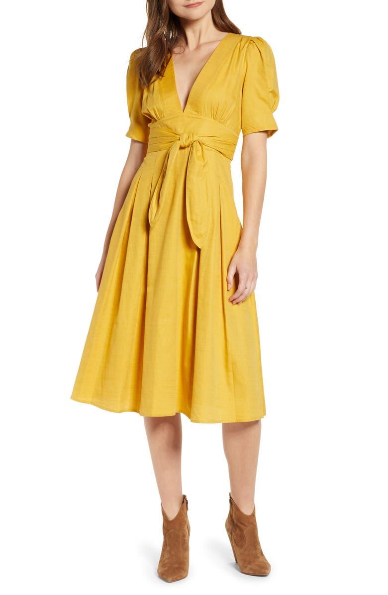 MOON RIVER Tie Waist Dress, Main, color, 700
