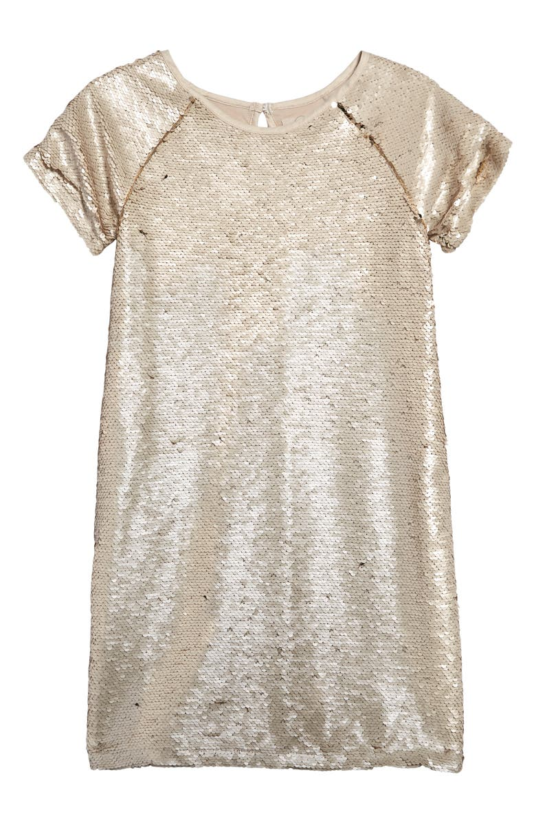 PEEK AREN'T YOU CURIOUS Isabella Allover Sequin Shift Dress, Main, color, GOLD