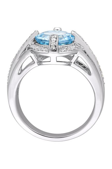 Image of Delmar Sterling Silver Blue Topaz Stone Pave Ring