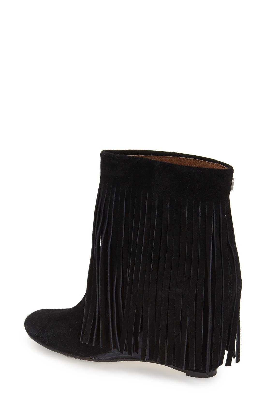 ,                             'Zarin' Fringe Wedge Bootie,                             Alternate thumbnail 3, color,                             001