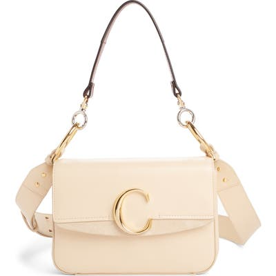 Chloe Leather Shoulder Bag - Beige