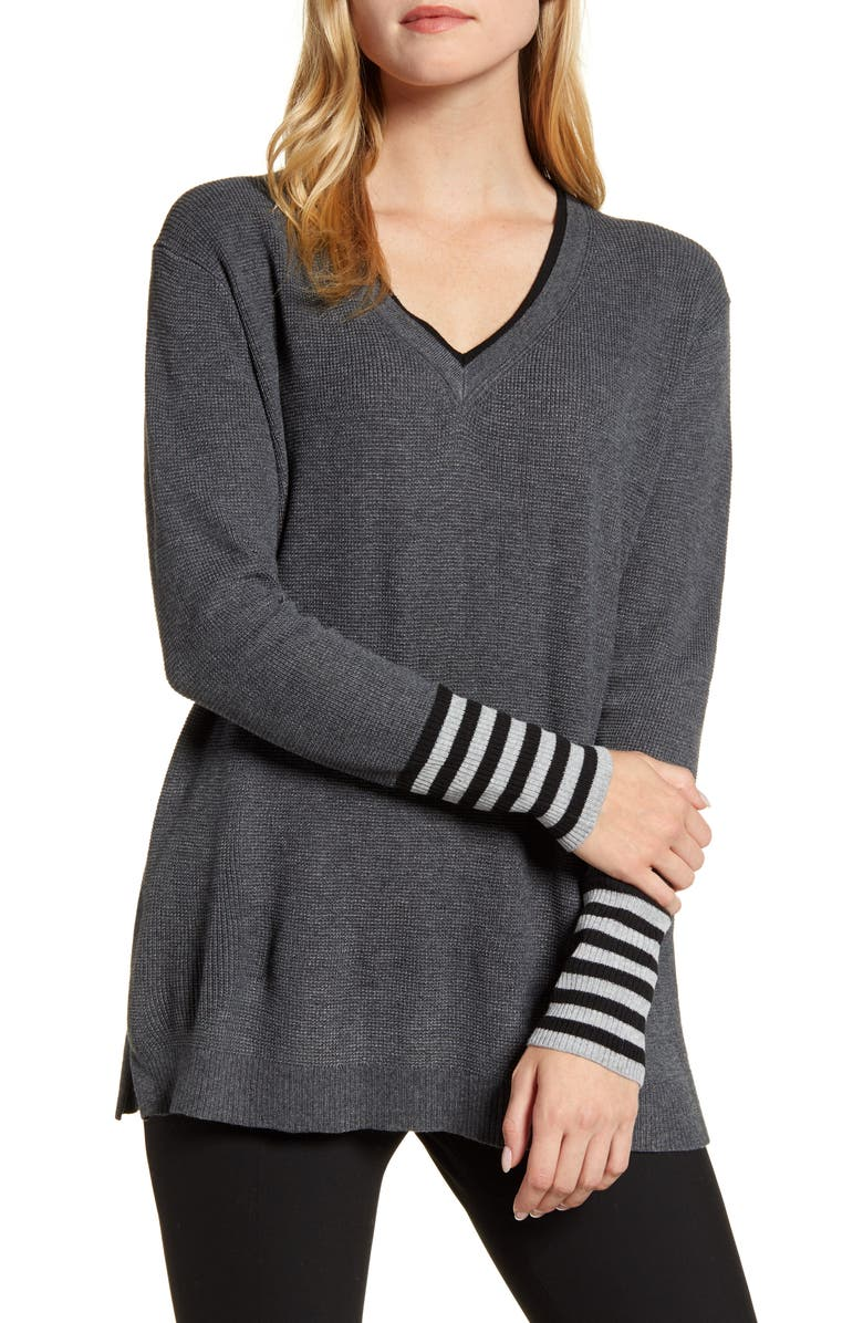 VINCE CAMUTO V-Neck Stripe Cuff Sweater, Main, color, MEDIUM HEATHER GREY