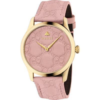 Gucci G-Timeless Logo Leather Strap Watch,
