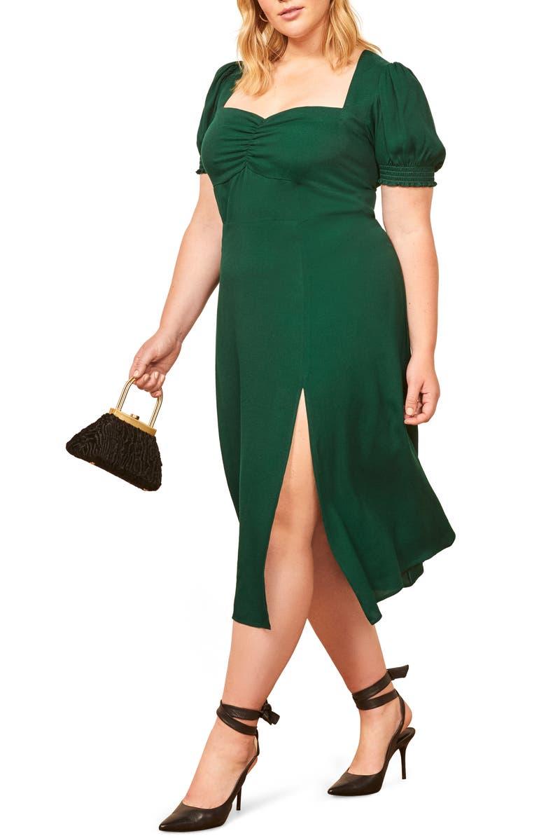 REFORMATION Lacey Midi Dress, Main, color, EMERALD