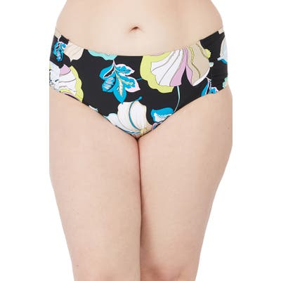 Plus Size Trina Turk Sintra Flora Shirred Side Midster Bikini Bottoms, Black