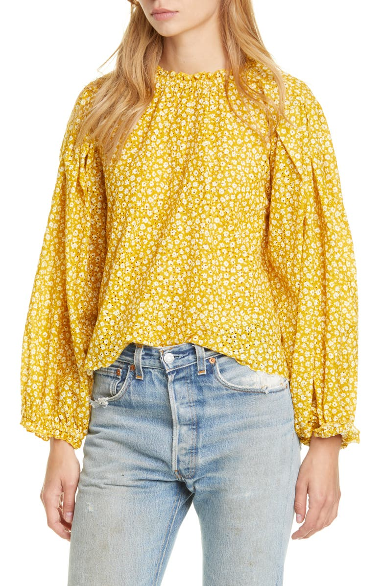 THE GREAT. The Chime Top, Main, color, SUNBEAM LEOPARD FLORAL