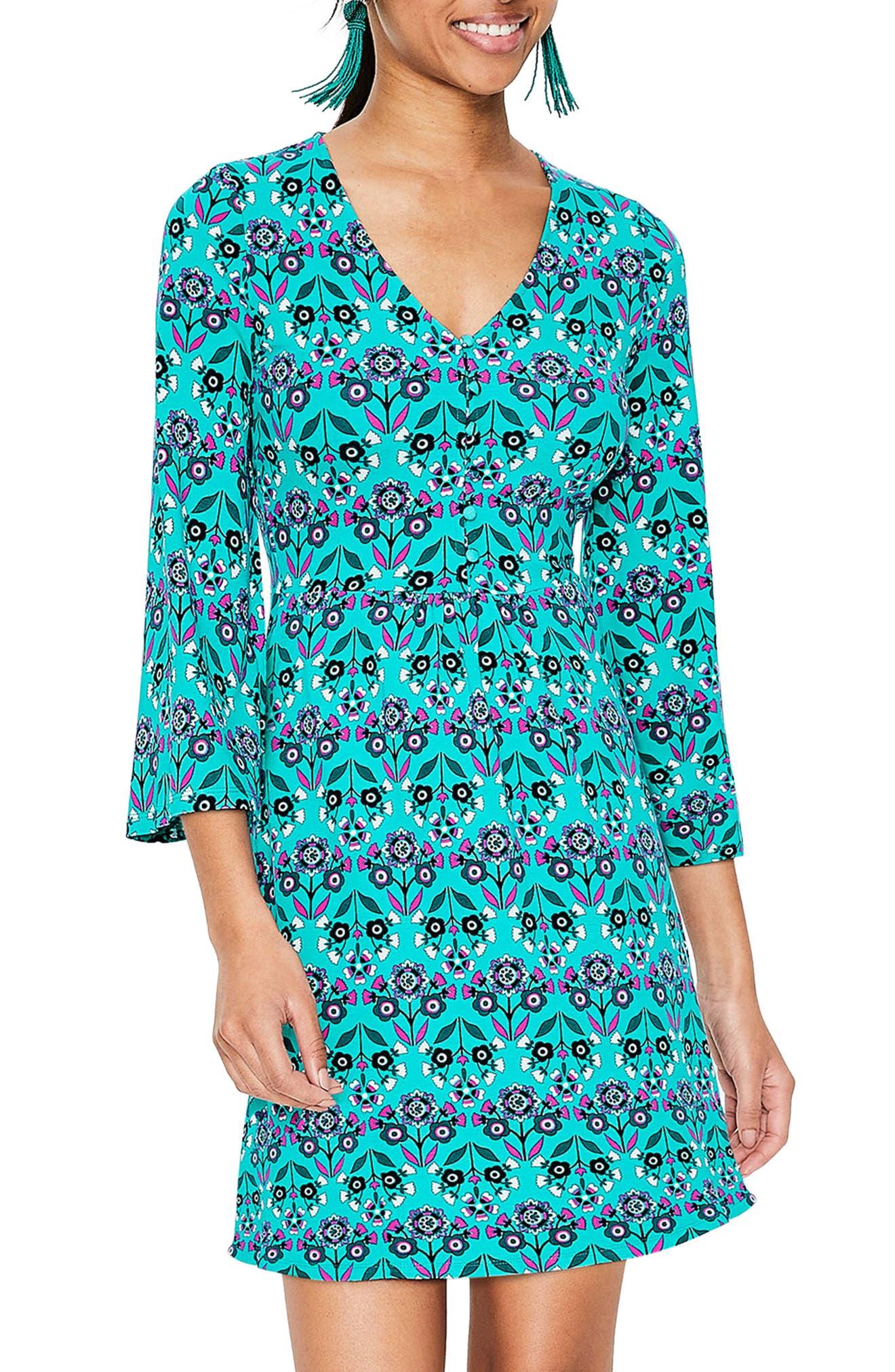 Boden Scarlett Bell Sleeve Jersey Tunic, Blue