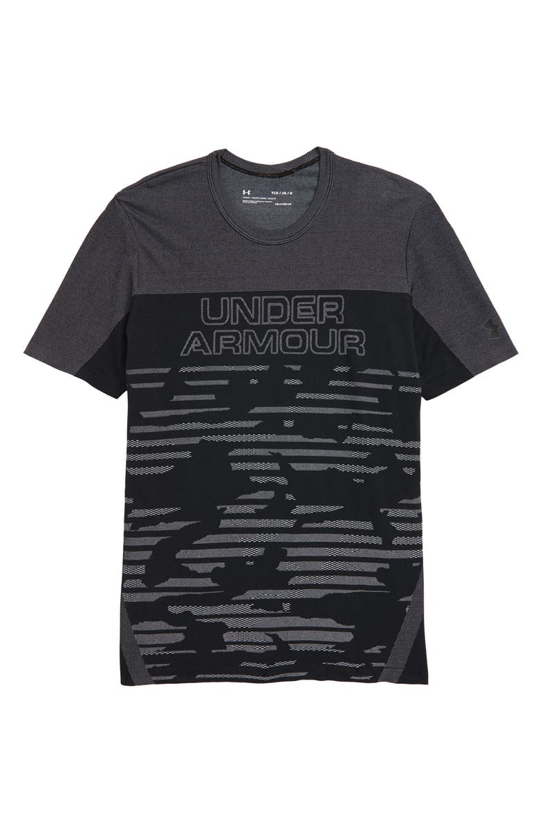 UNDER ARMOUR Seamless HeatGear<sup>®</sup> Graphic Tee, Main, color, 001