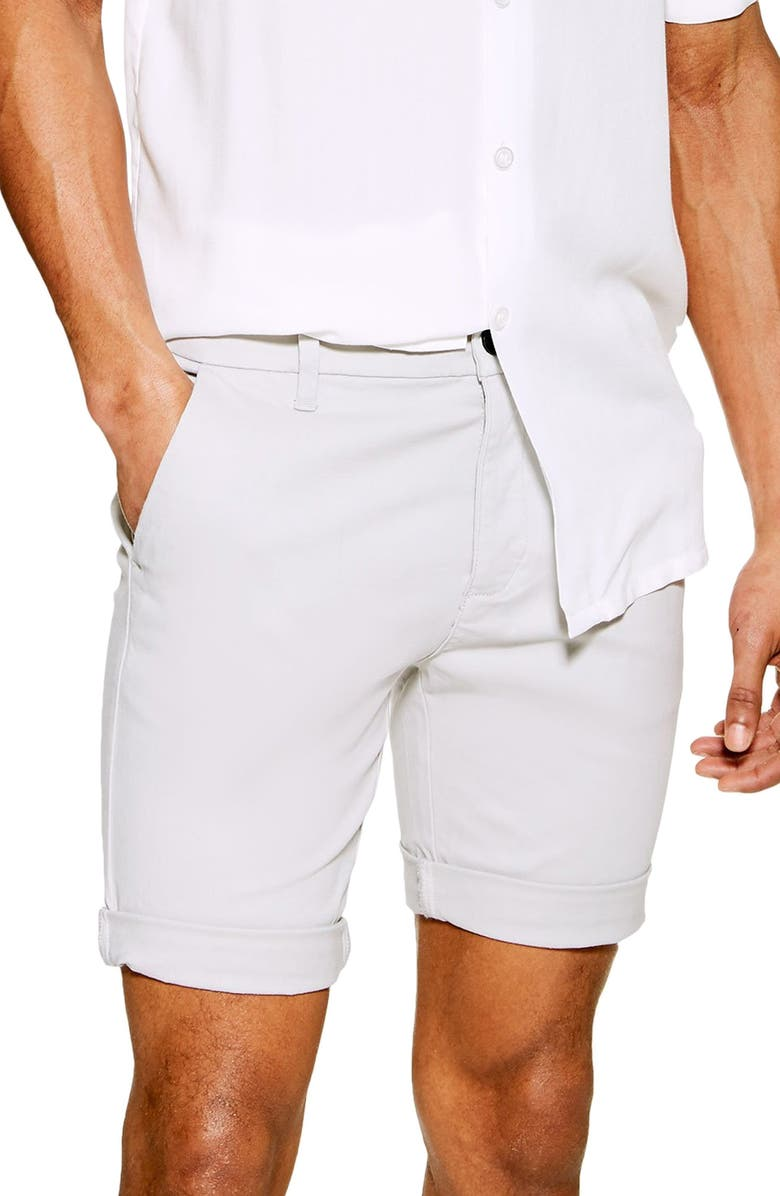 TOPMAN Stretch Skinny Chino Shorts, Main, color, LIGHT GREY