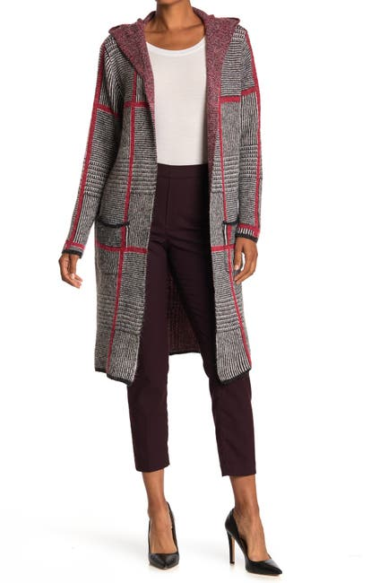 Joseph A Women Hooded Long Cardigan Sweater Coat (Menswear Grid)