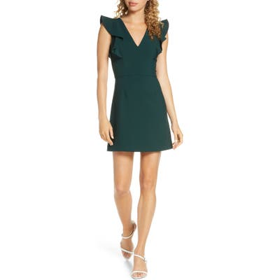 French Connection Whisper Ruffle Minidress, Green