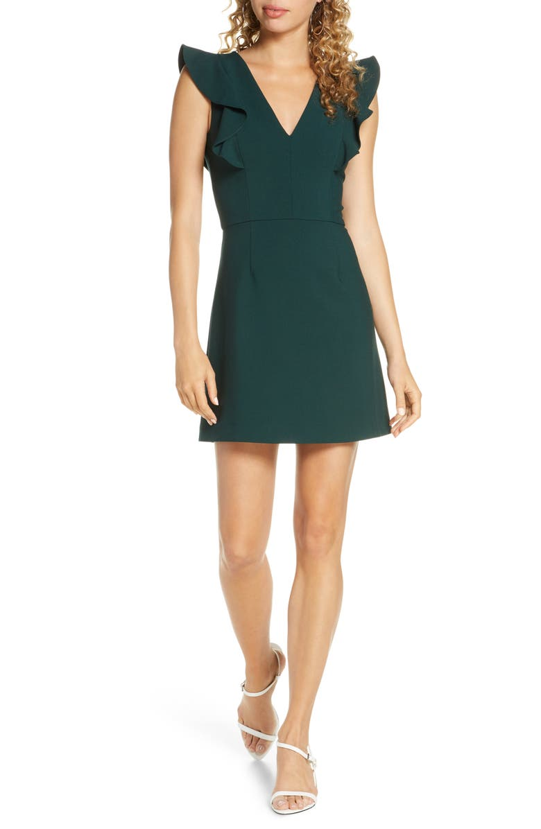 FRENCH CONNECTION Whisper Ruffle Minidress, Main, color, BAYOU GREEN