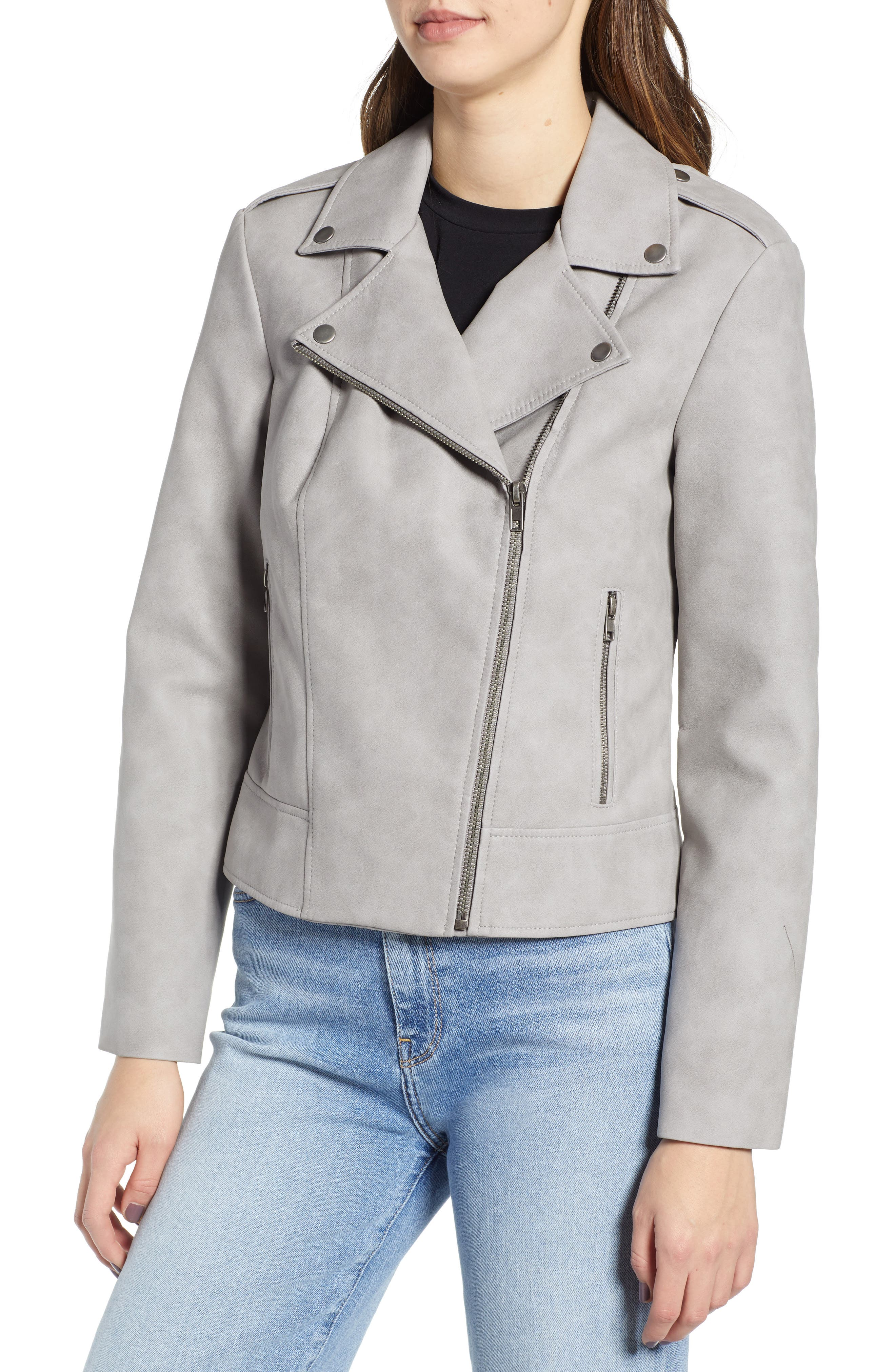 ,                             Easy Rider Faux Leather Moto Jacket,                             Alternate thumbnail 5, color,                             030