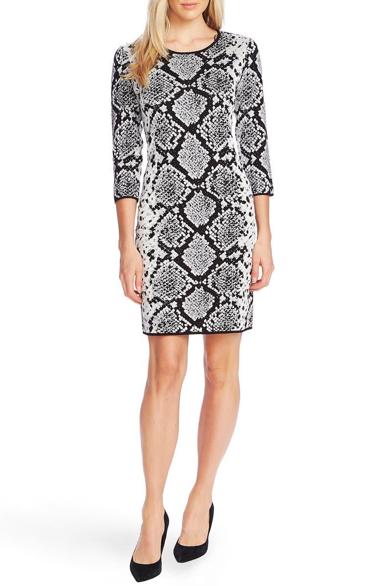 VINCE CAMUTO Snake Print Jacquard Cotton Cocktail Dress, Main, color, RICH BLACK