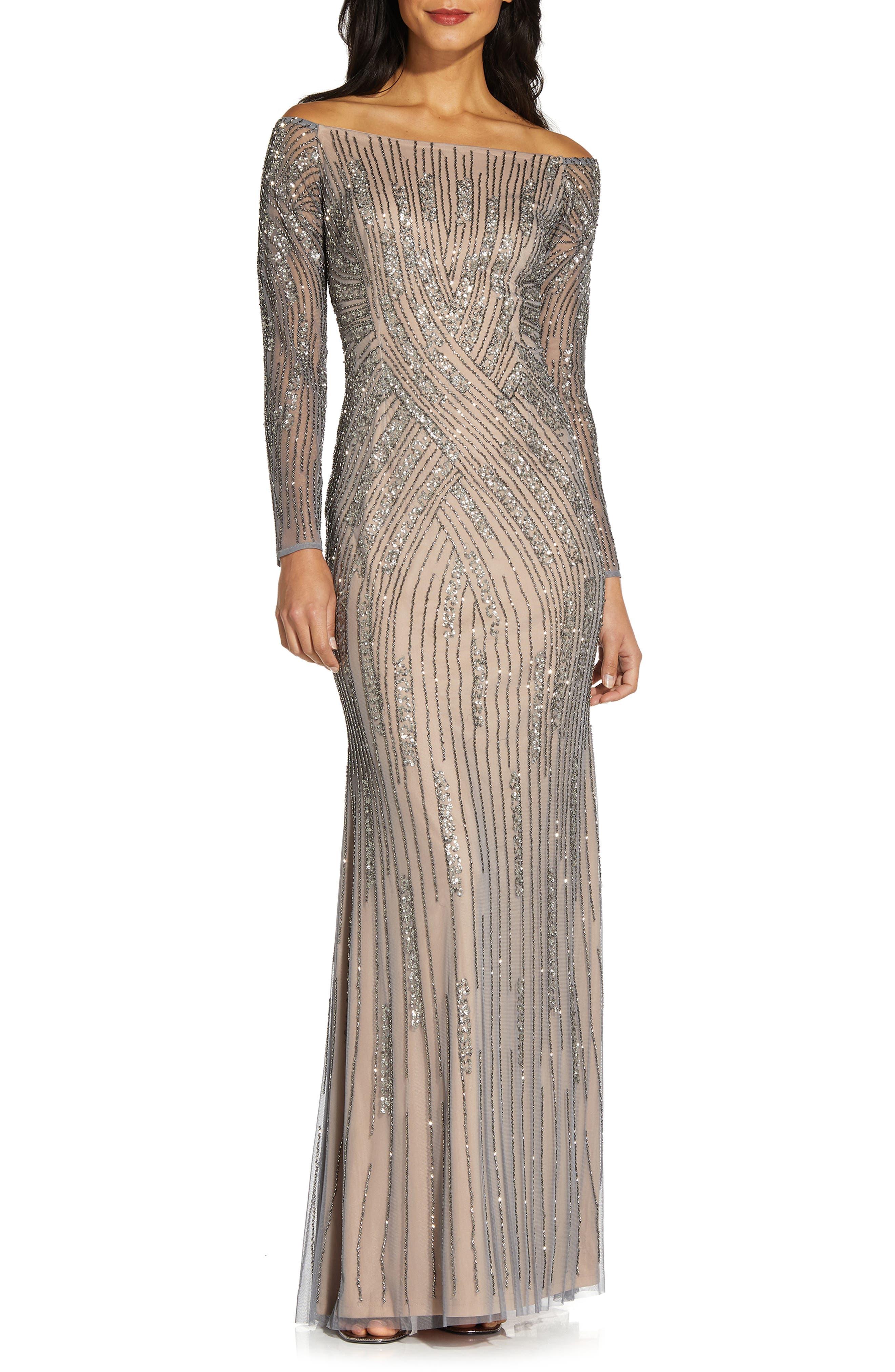 Long Sleeve Off The Shoulder Beaded Mermaid Gown