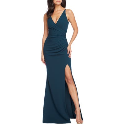 Dress The Population Ruched Side Slit Gown, Green