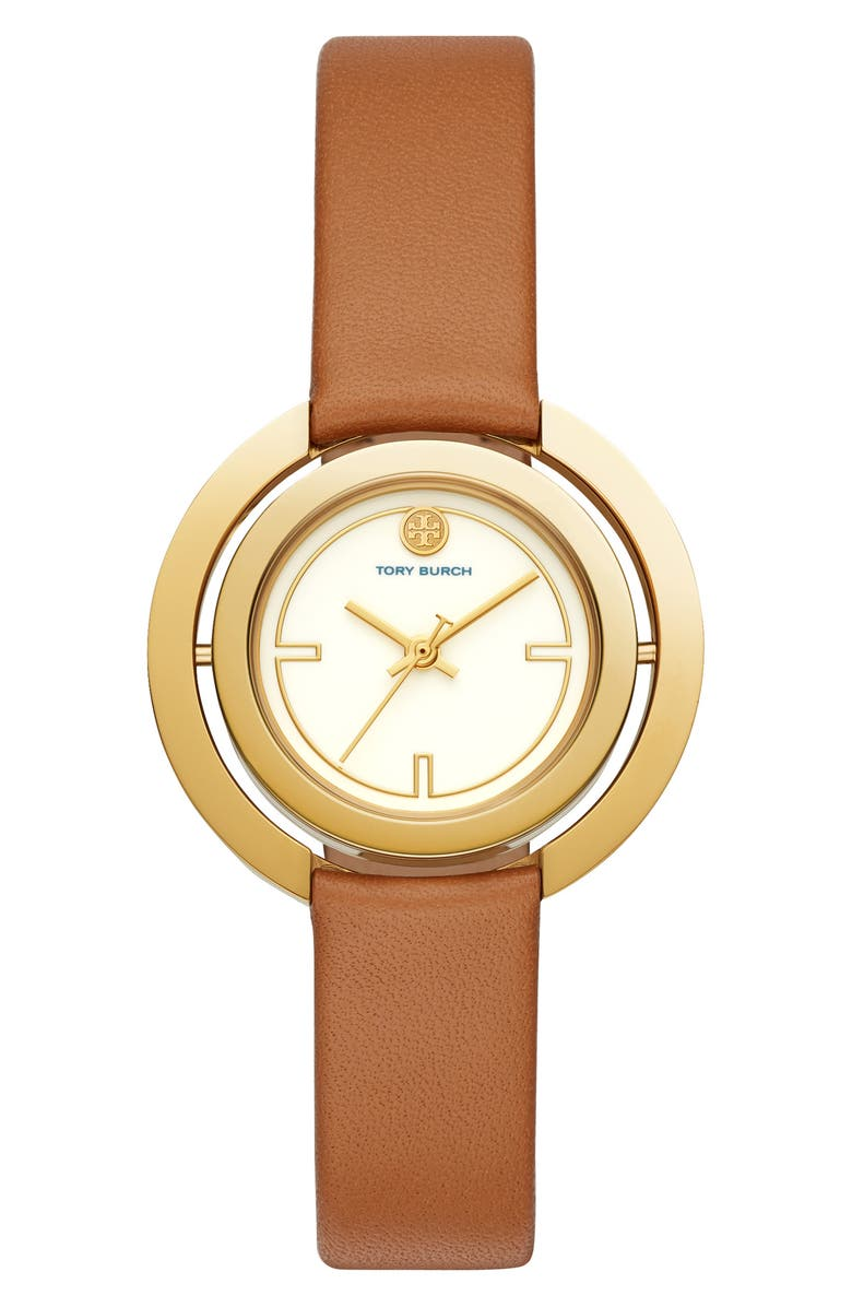 TORY BURCH Grier Reversible Case Leather Strap Watch, 26mm, Main, color, BROWN/ WHITE/ GOLD