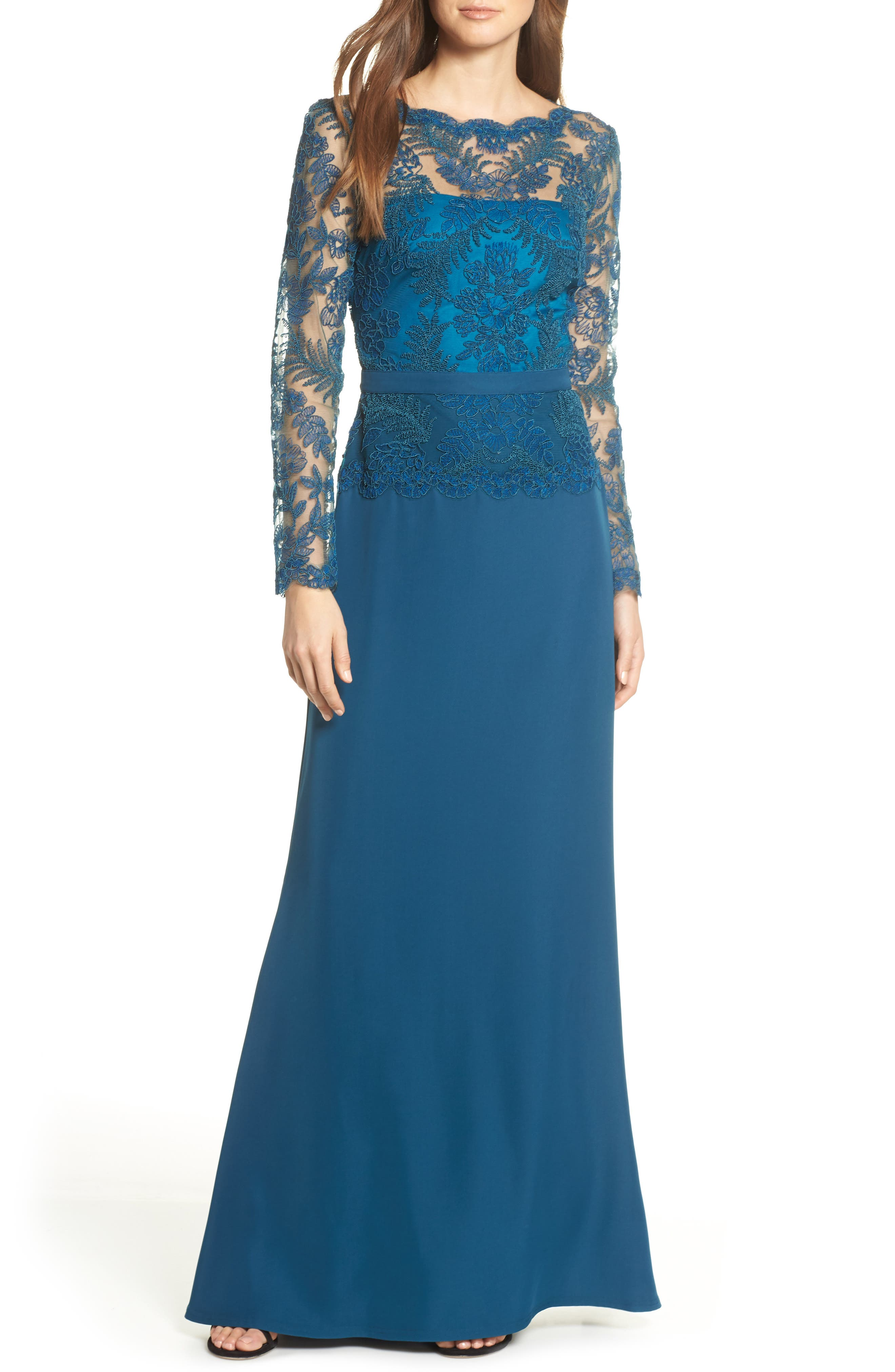 Lace & Crepe Long Sleeve Evening Gown, Main, color, CERULEAN