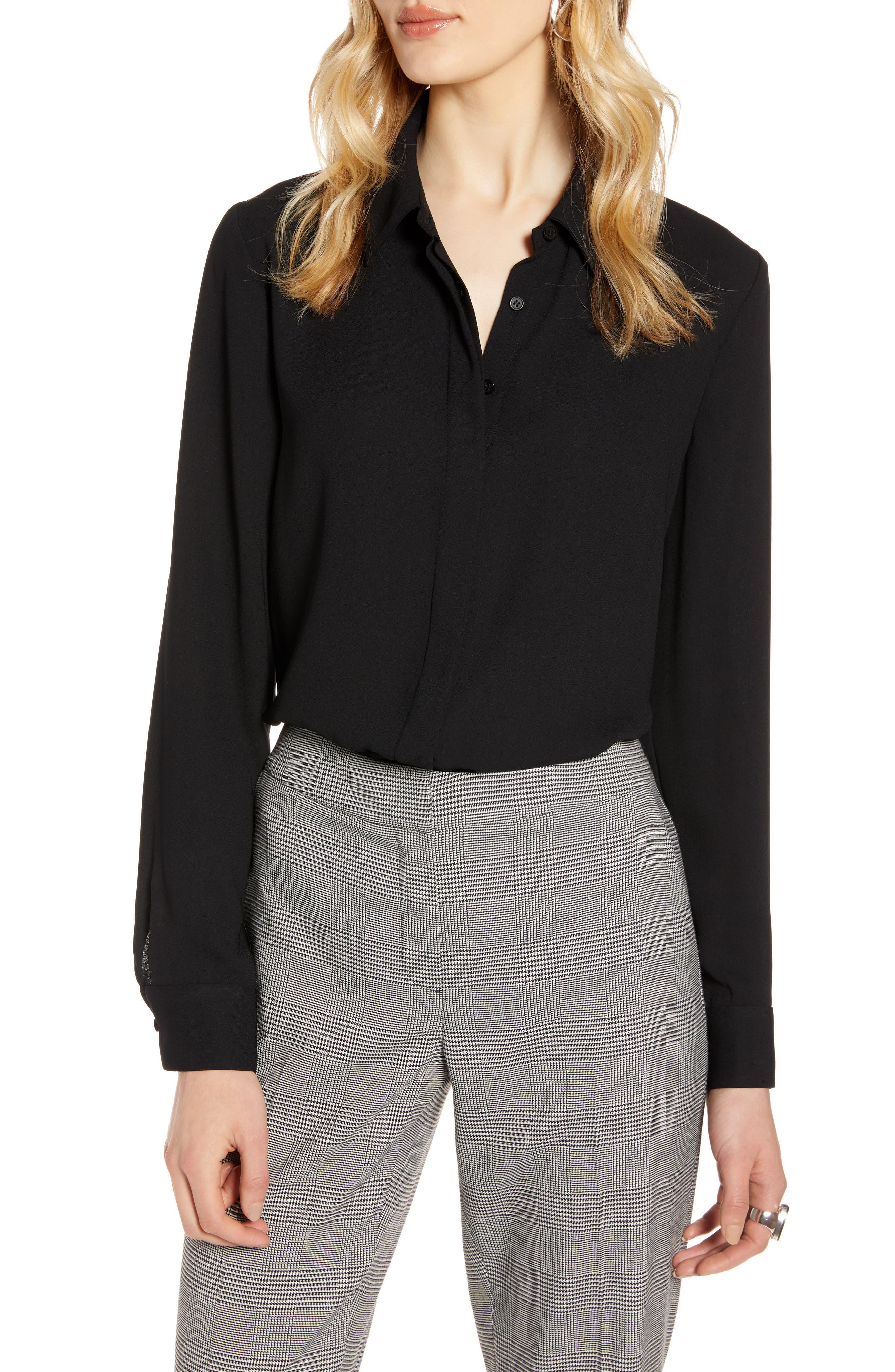 Women's Halogen Hidden Button Long Sleeve Blouse