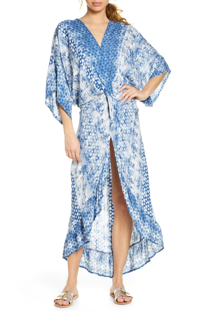 SURF GYPSY Print Twist Front Cover-Up Dress, Main, color, DISTRESSED BALI