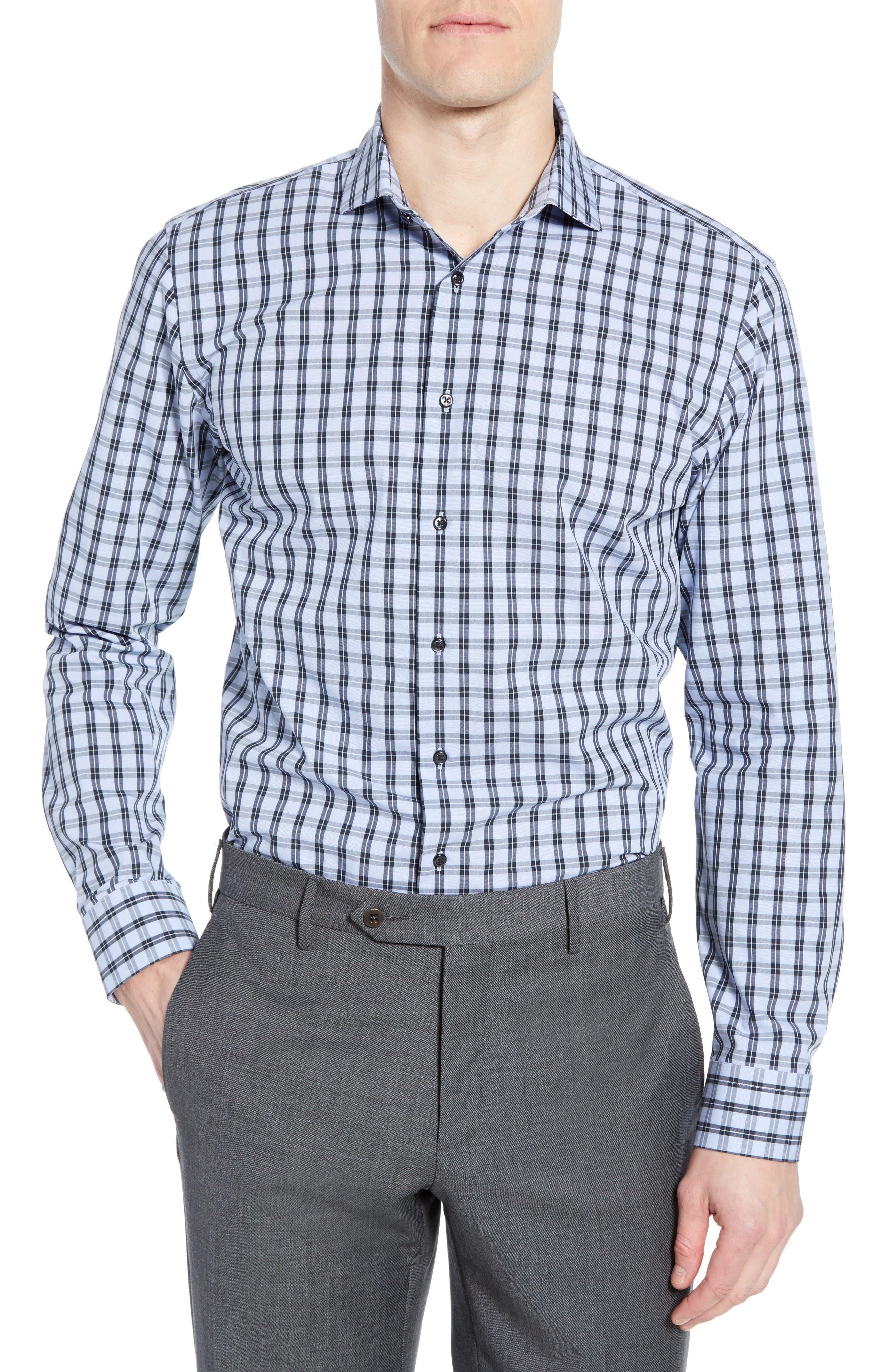 ,                             Tech-Smart Trim Fit Stretch Check Dress Shirt,                             Main thumbnail 1, color,                             NAVY DUSK