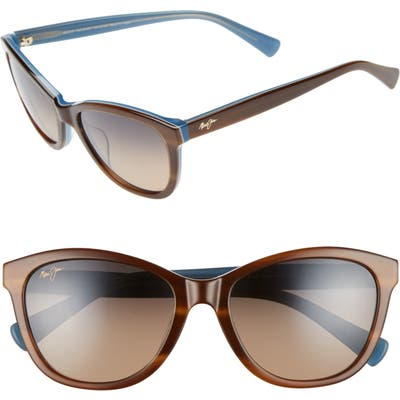 Maui Jim Canna 5m Polarized Cat Eye Sunglasses - Tort White Blue/ Bronze