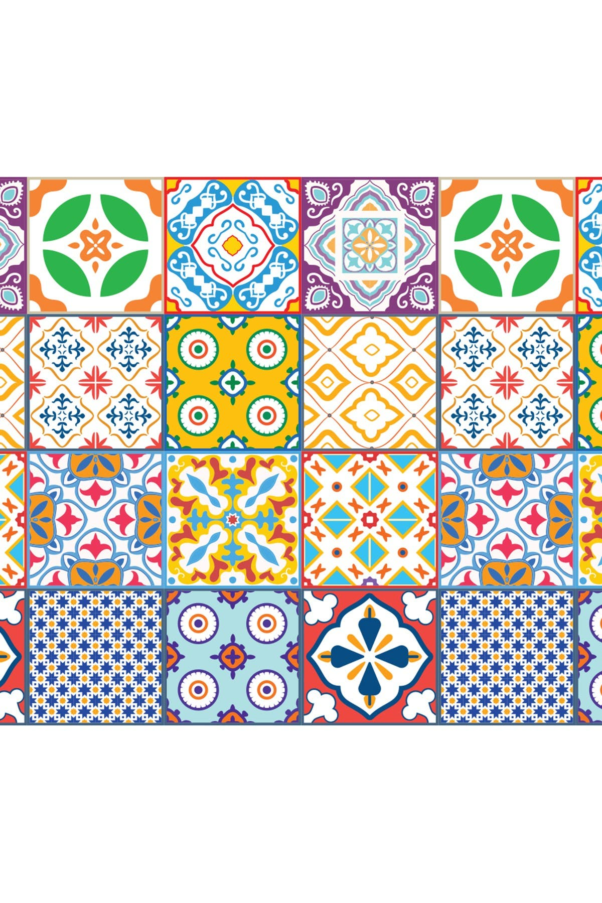 Image of WalPlus Classic Mediterranean Colorful Mixed Tiles Wall Stickers - 6 x 6 inches - 24 Pieces