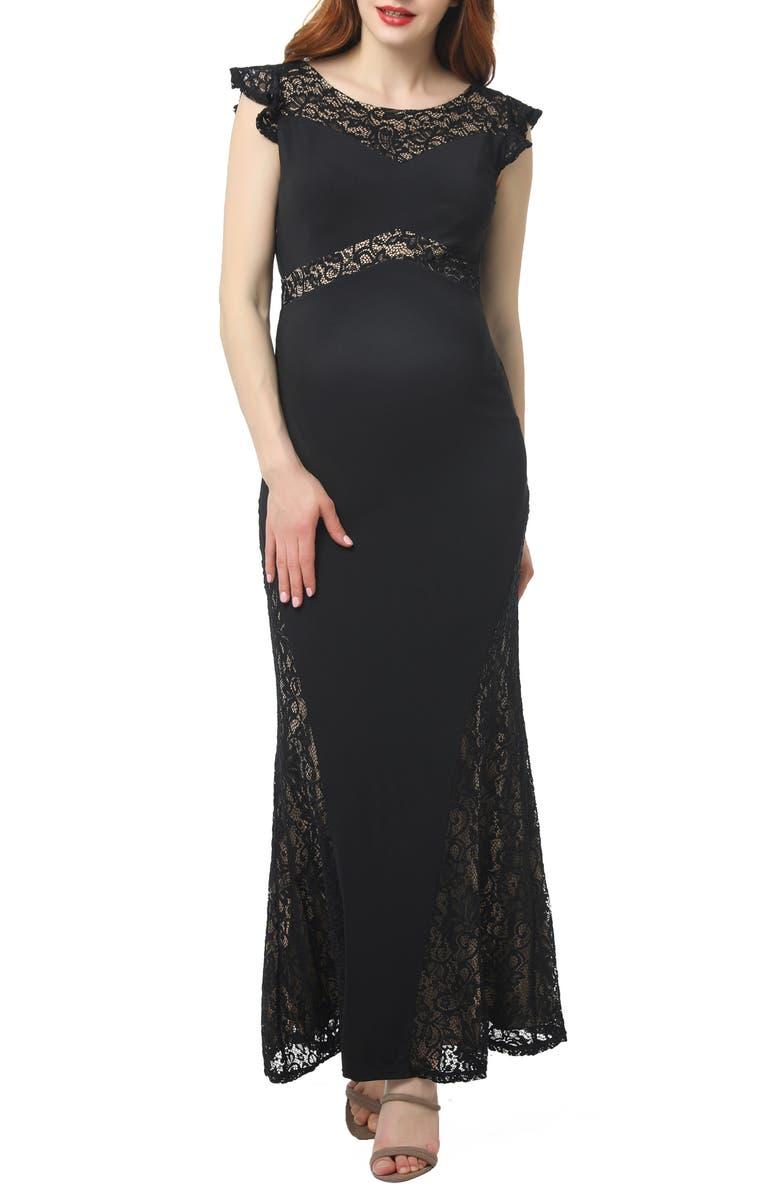 KIMI AND KAI Audrey Lace Trim Maxi Dress, Main, color, BLACK