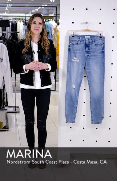 Good Waist Side Triangle Crop Skinny Jeans, sales video thumbnail