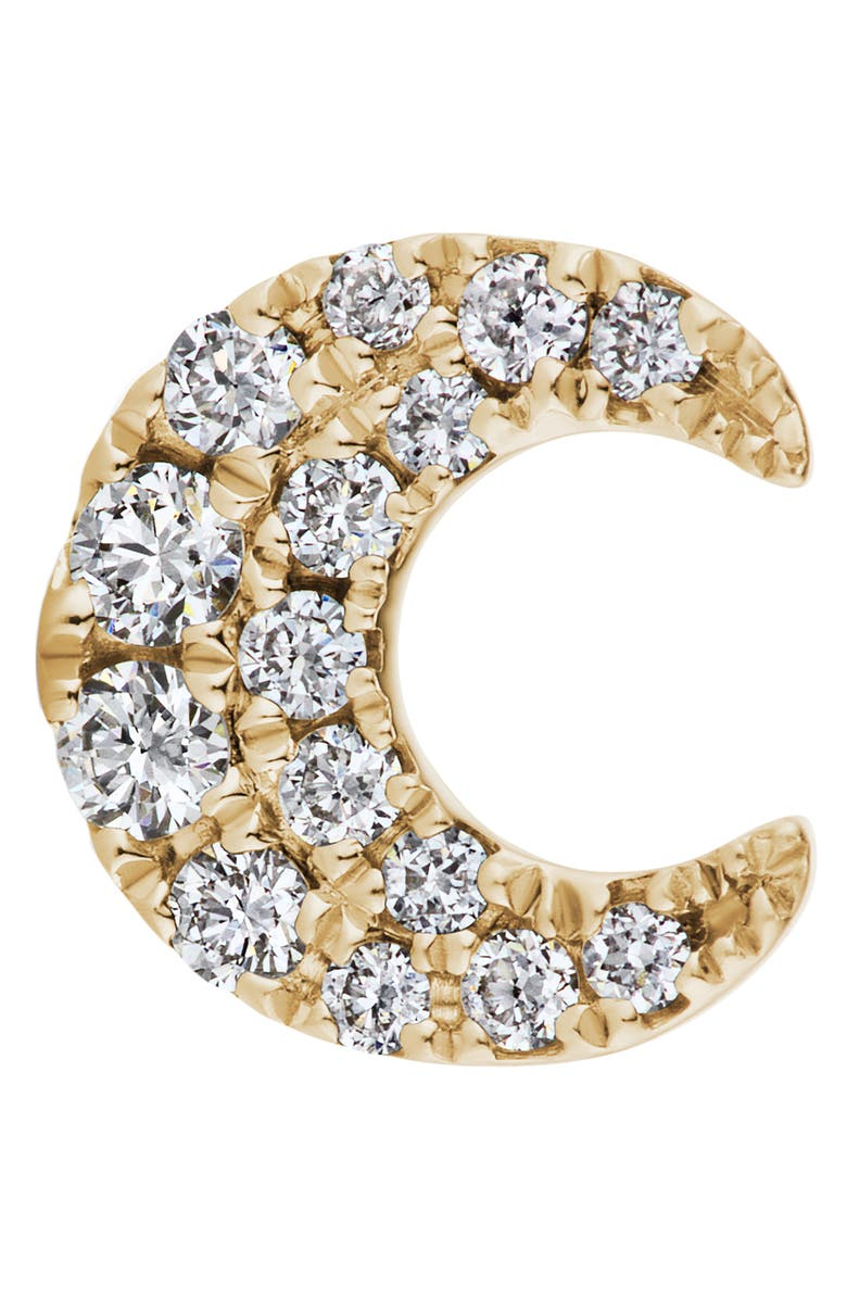 MARIA TASH Diamond Moon Threaded Stud Earring, Main, color, YELLOW GOLD