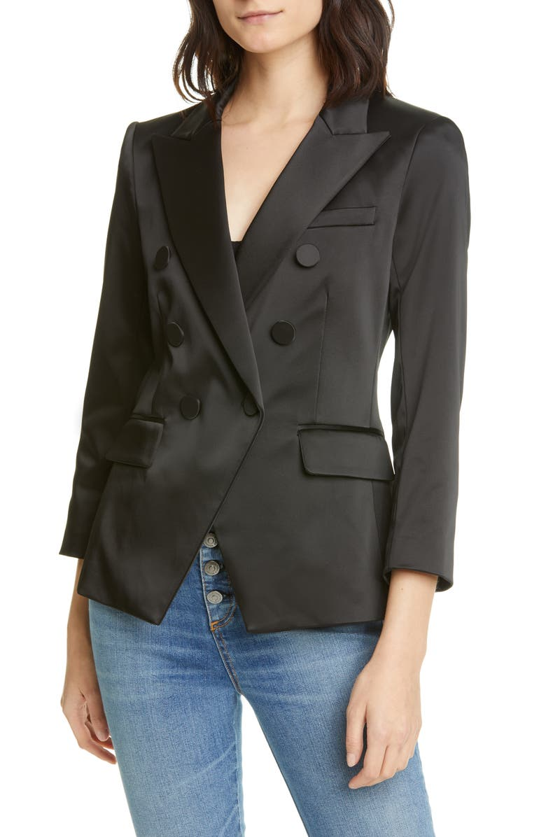 VERONICA BEARD Empire Satin Dickey Jacket, Main, color, 001