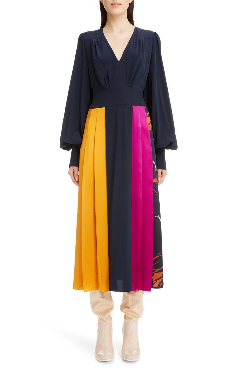 ROKSANDA Colorblock Long Sleeve Silk Crêpe de Chine Midi Dress, Main, color, MIDNIGHT/ TOBACCO/ HELIOTROPE