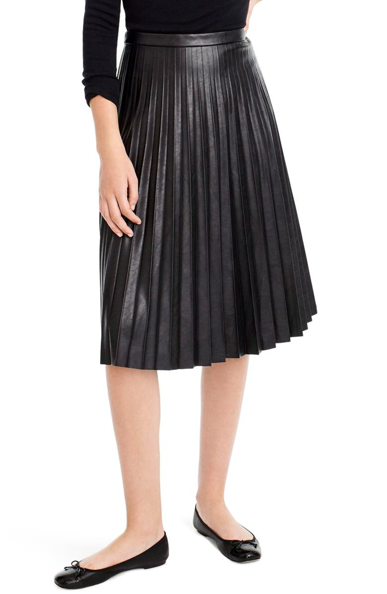J.CREW Pleat Faux Leather Midi Skirt, Main, color, BLACK