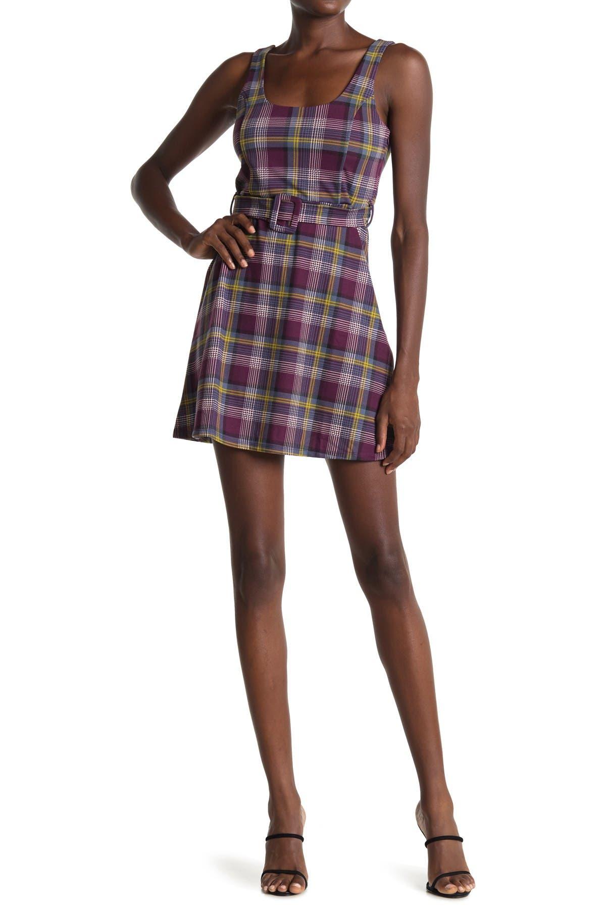 Image of PLANET GOLD Plaid Sleeveless Belted Mini Dress