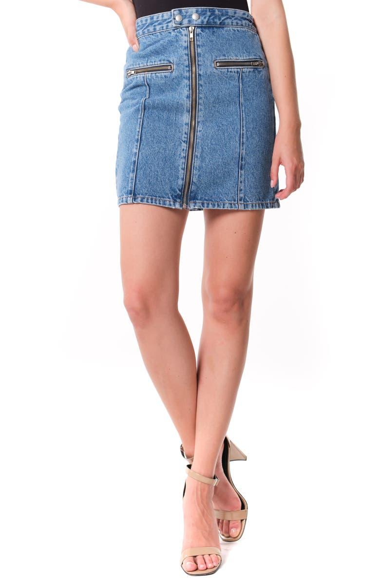 BLANKNYC Zip Detail Denim Miniskirt, Main, color, LONDON GIRL