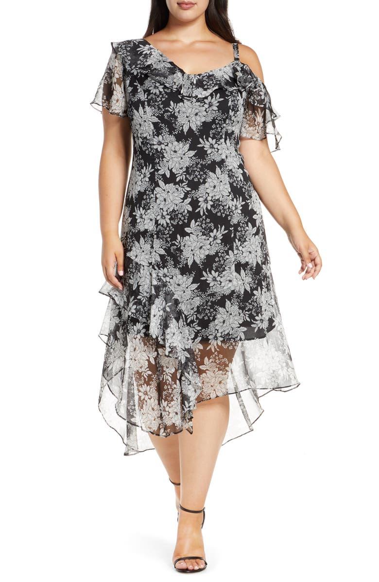 VINCE CAMUTO Floral Asymmetrical Dress, Main, color, 001