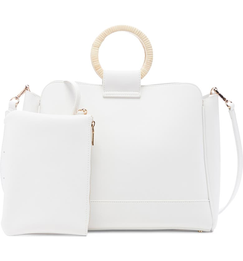 SOLE SOCIETY Nicoh Faux Leather Satchel, Main, color, WHITE