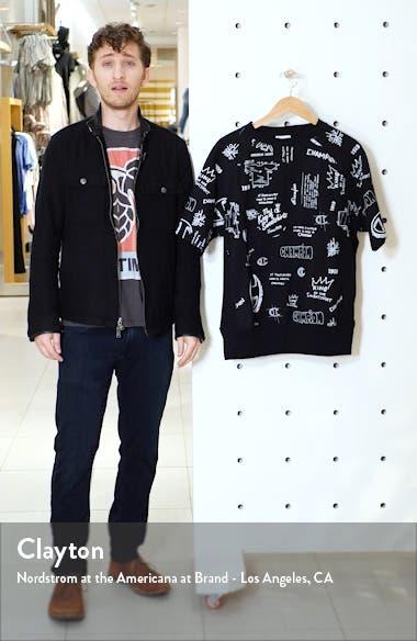 Reverse Weave Scribble Print Fleece Pullover, sales video thumbnail