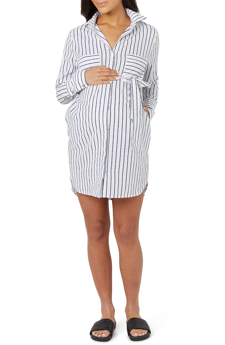 LEGOE. NY Long Sleeve Stripe Maternity/Nursing Shirtdress, Main, color, WHITE/ NAVY STRIPE