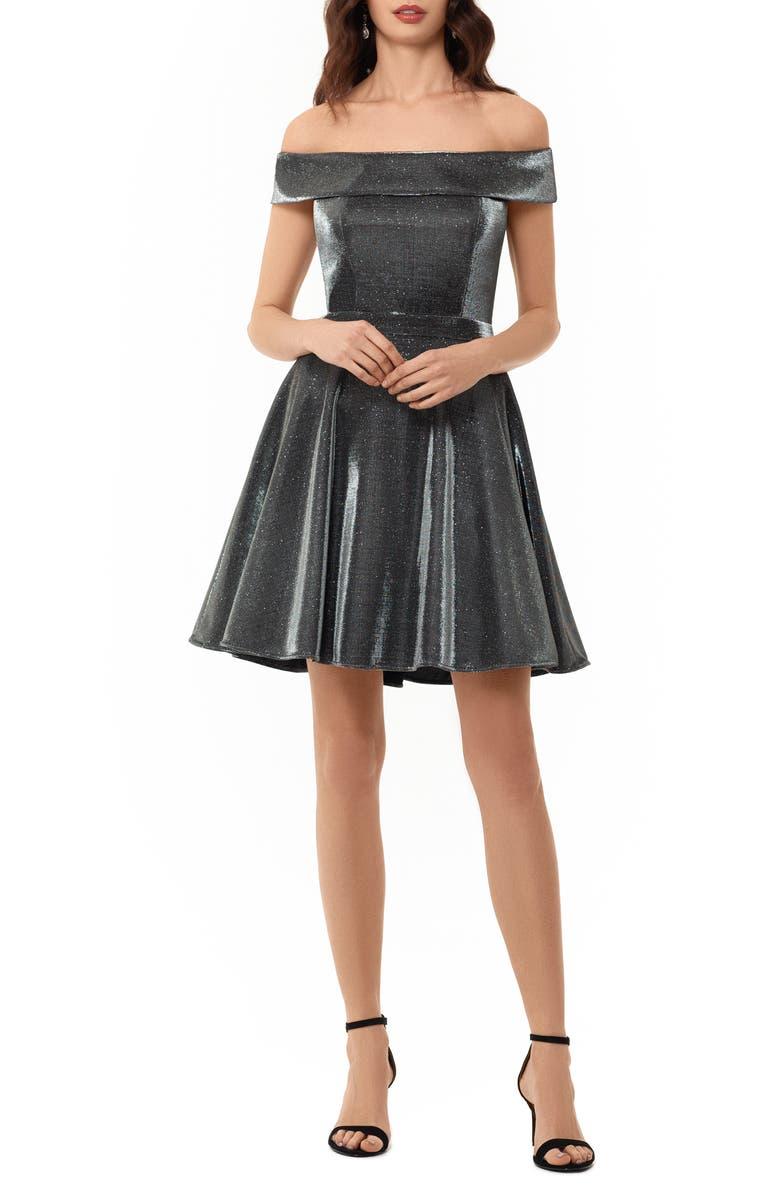 XSCAPE Off the Shoulder Glitter Party Dress, Main, color, BLACK/ SILVER