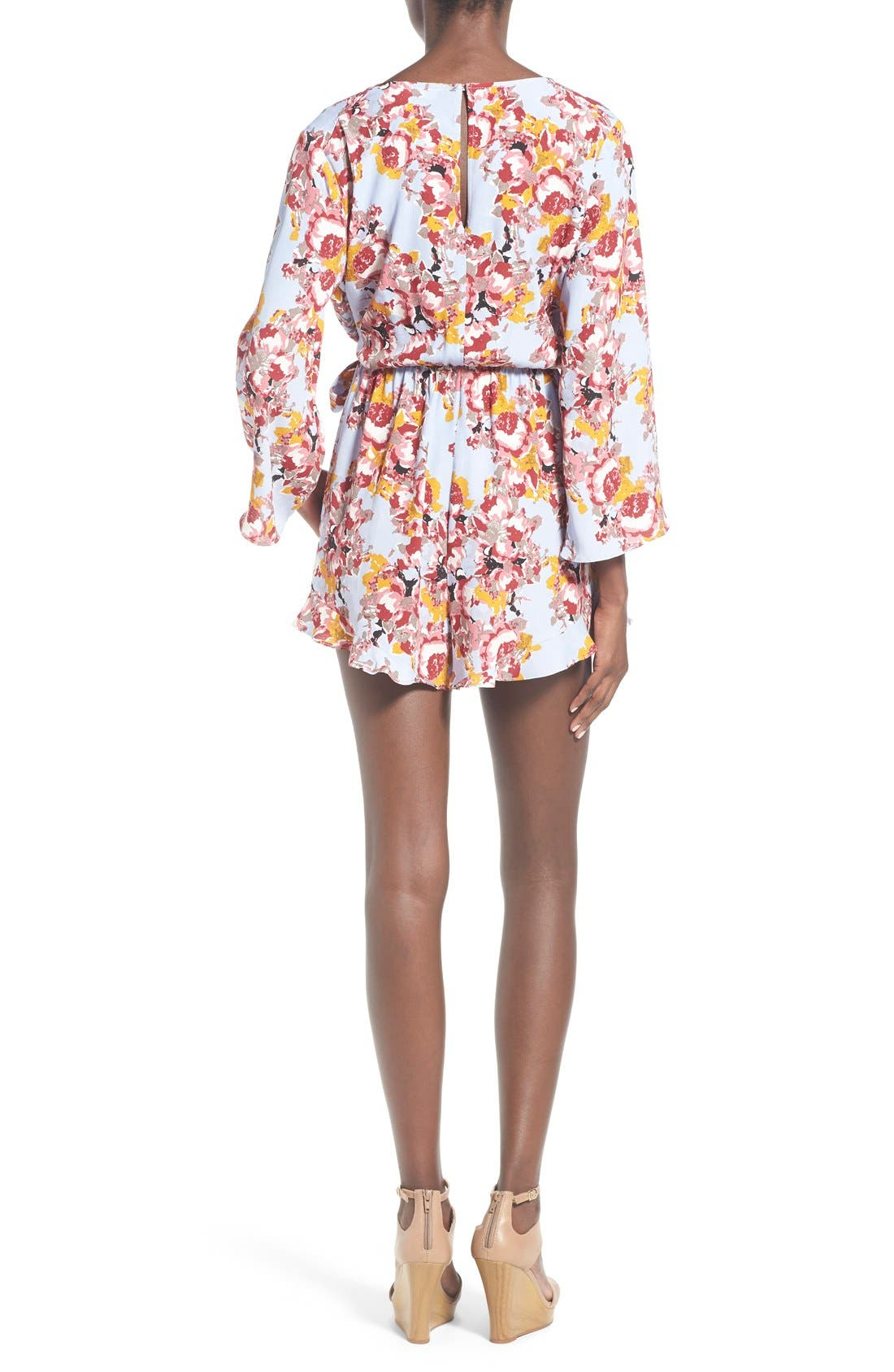 ,                             ASTR Floral Surplice Romper,                             Alternate thumbnail 8, color,                             400