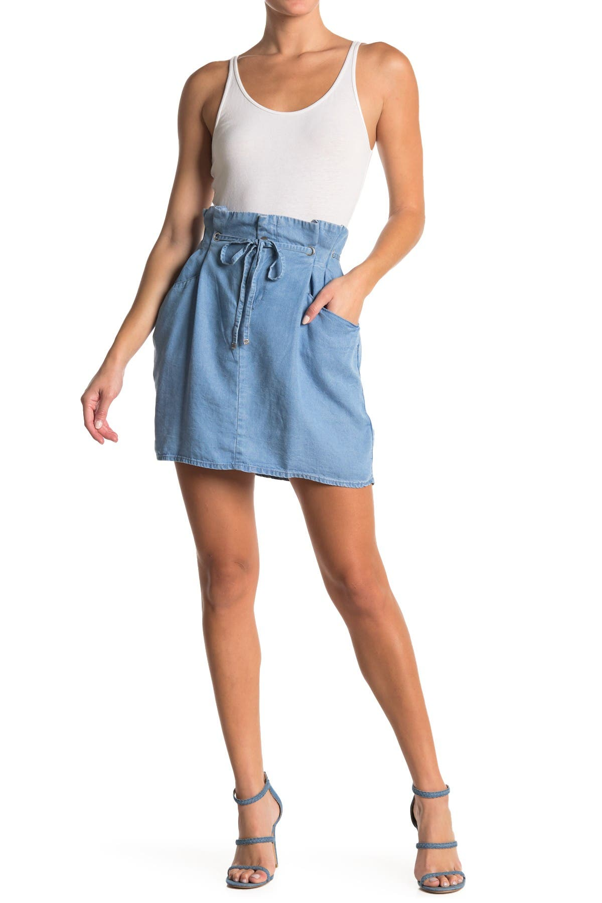 Image of Laundry By Shelli Segal Tencel Paperbag Waist Skirt