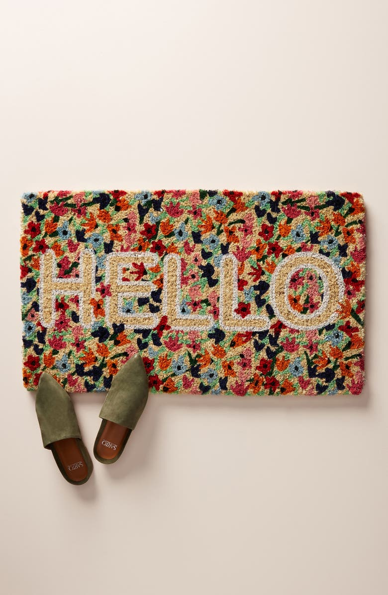 ANTHROPOLOGIE HOME Floral Hello Door Mat, Main, color, 600