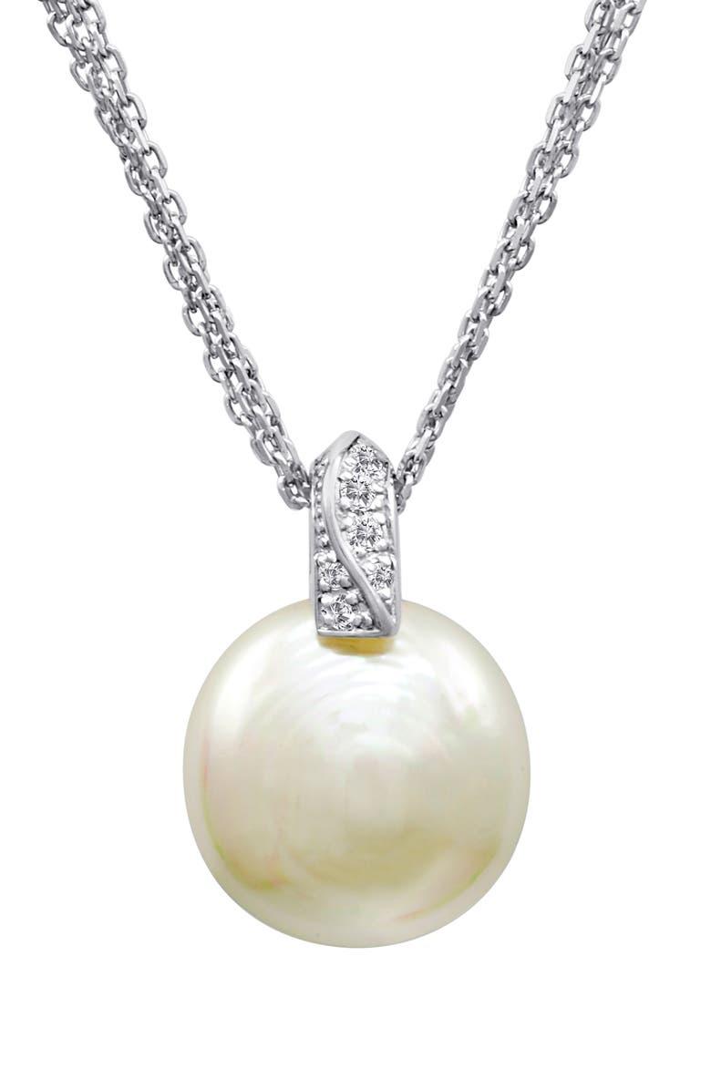 MAJORICA 18mm Coin Pearl Pendant Necklace, Main, color, SILVER