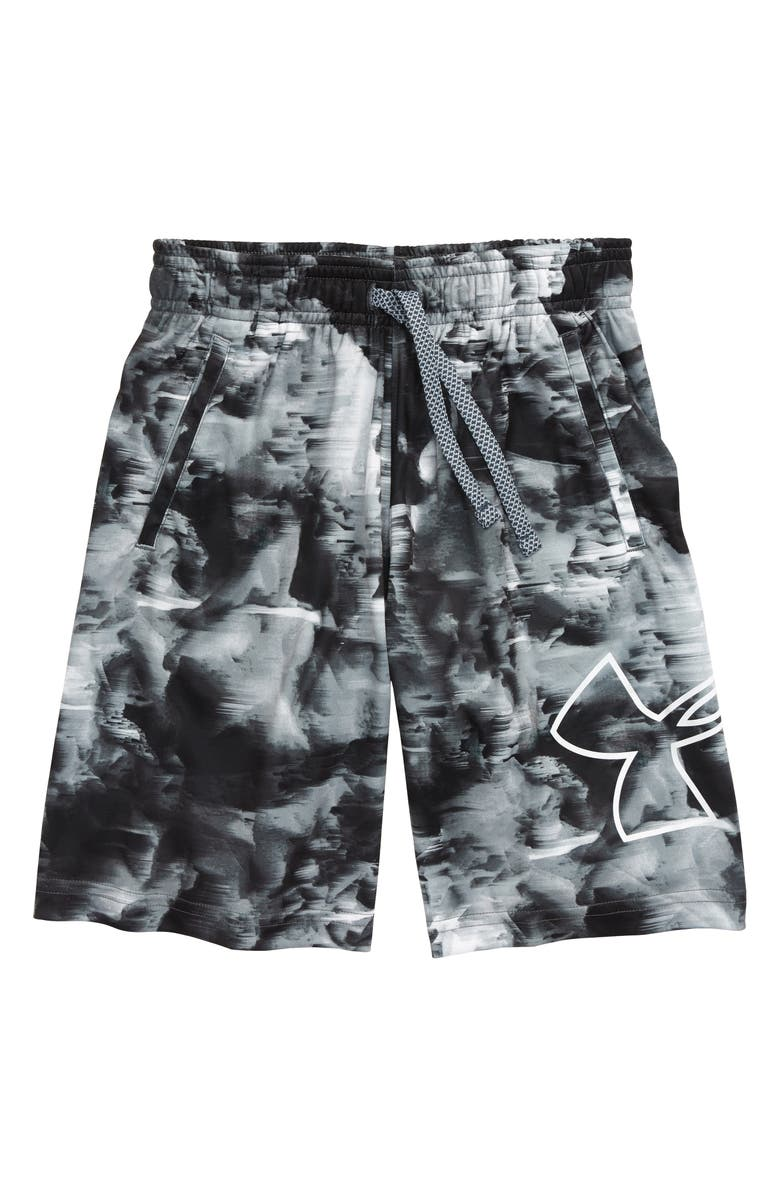 UNDER ARMOUR Renegade 2.0 Shorts, Main, color, MOD GRAY/ WHITE