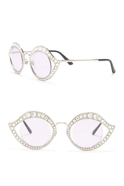 Image of GUCCI 41mm Embellished Round Cat Eye Sunglasses