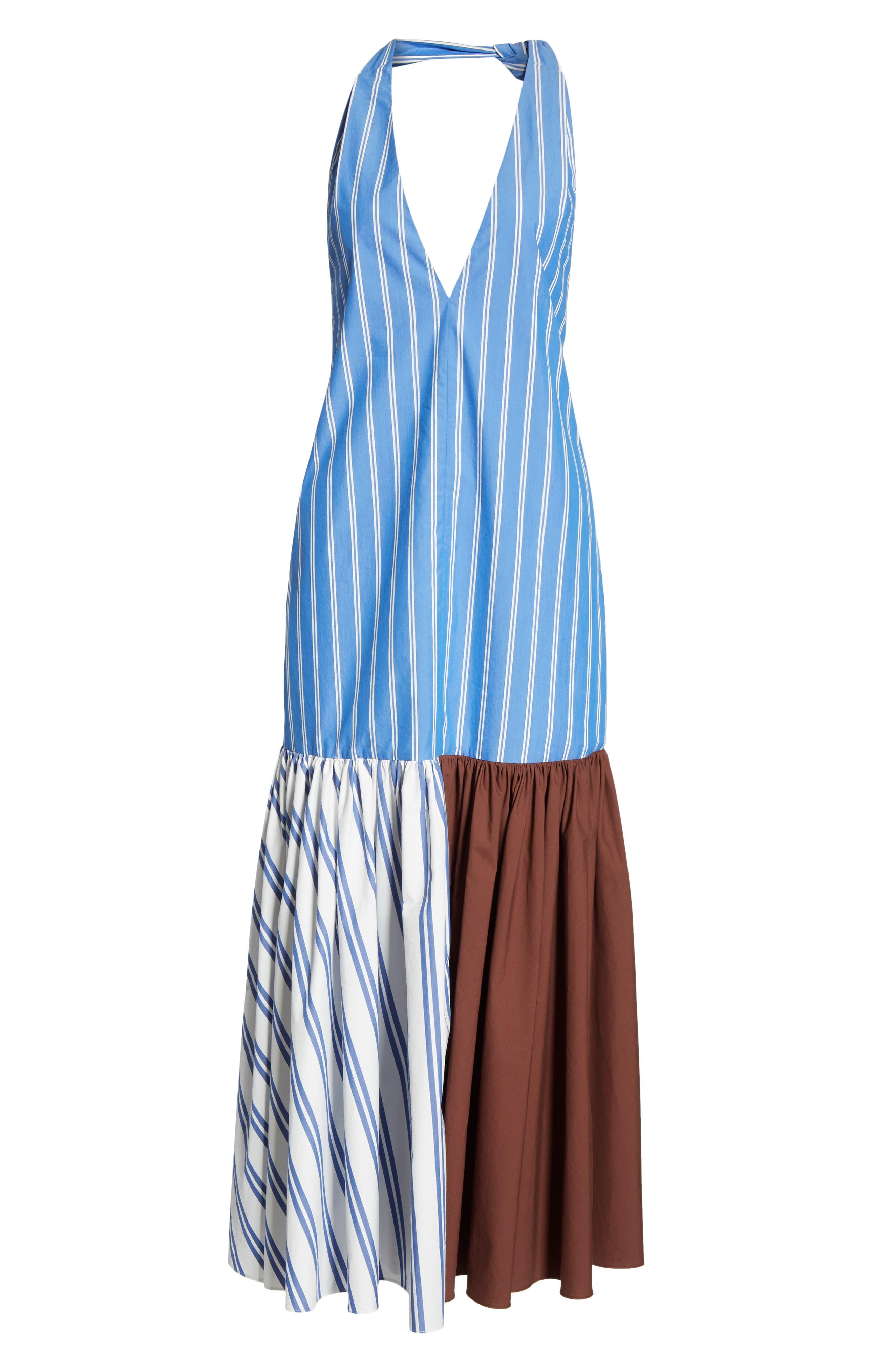 ,                             Vivian Stripe Halter Midi Dress,                             Alternate thumbnail 6, color,                             BLUE/ WHITE STRIPE MULTI