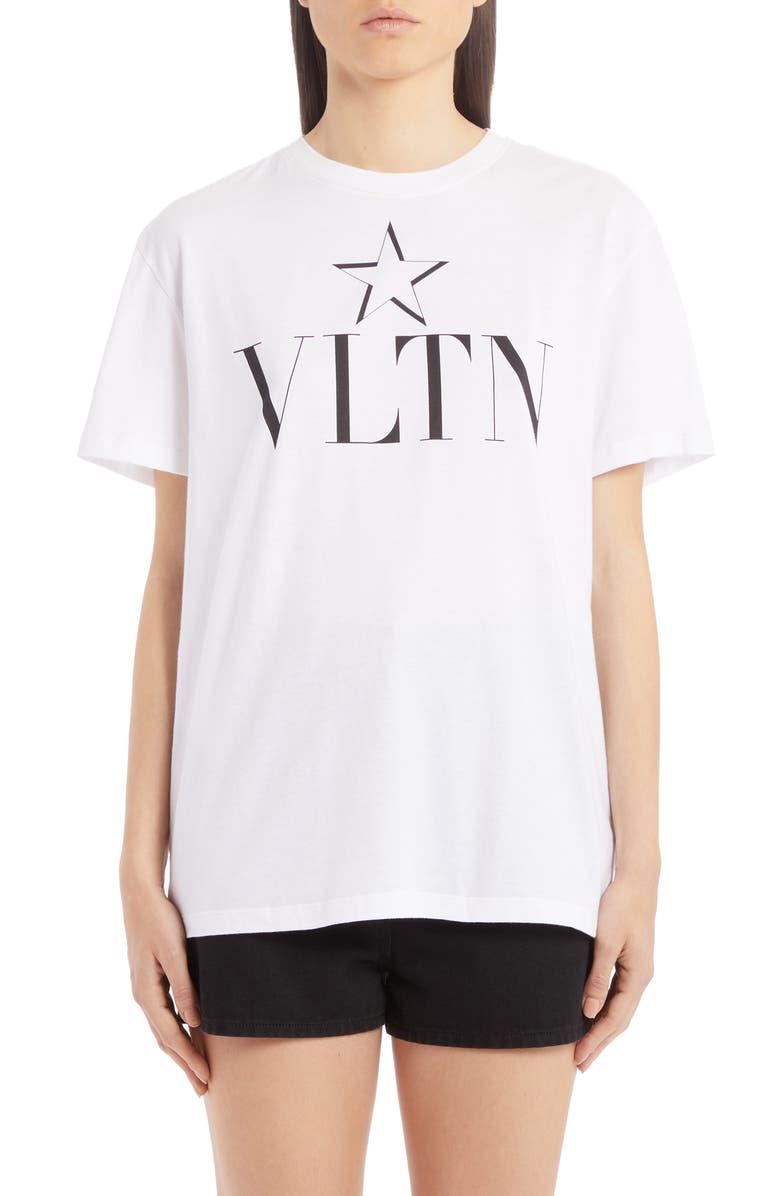 VALENTINO VLTN Star Cotton Tee, Main, color, BIANCO/ NERO