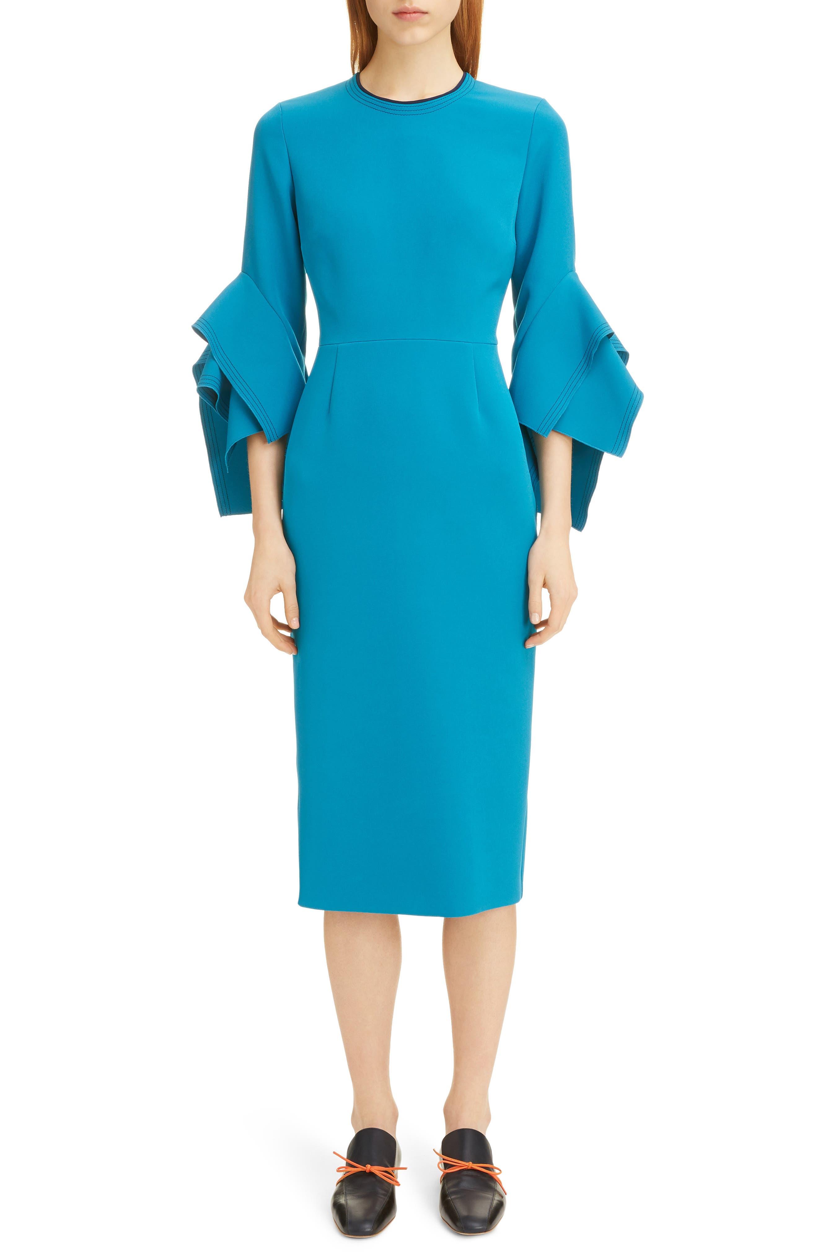 Roksanda Dresses Flutter Sleeve Contrast Back Crepe Midi Dress